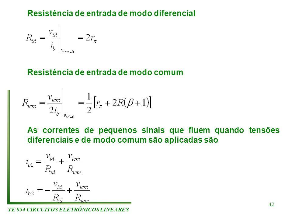 TE 054 CIRCUITOS ELETRÔNICOS LINEARES 42 Resistência de entrada de modo diferencial Resistência de entrada de modo comum As correntes de pequenos sina