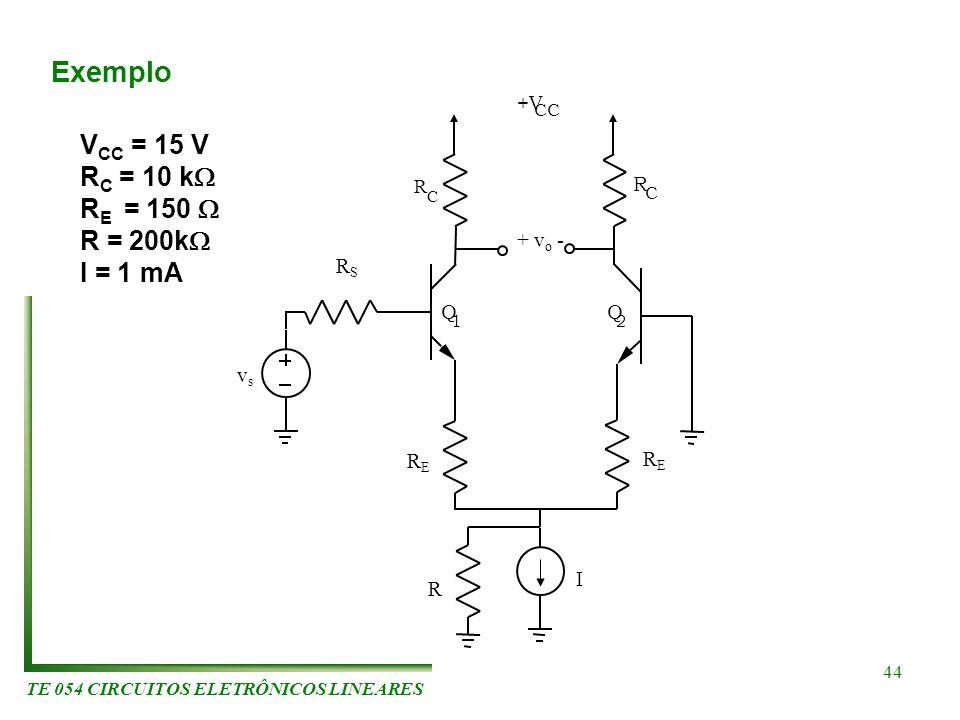 TE 054 CIRCUITOS ELETRÔNICOS LINEARES 44 R C R C Q 1 Q 2 +V CC + v o - vsvs RSRS RERE RERE R I Exemplo V CC = 15 V R C = 10 k R E = 150 R = 200k I = 1