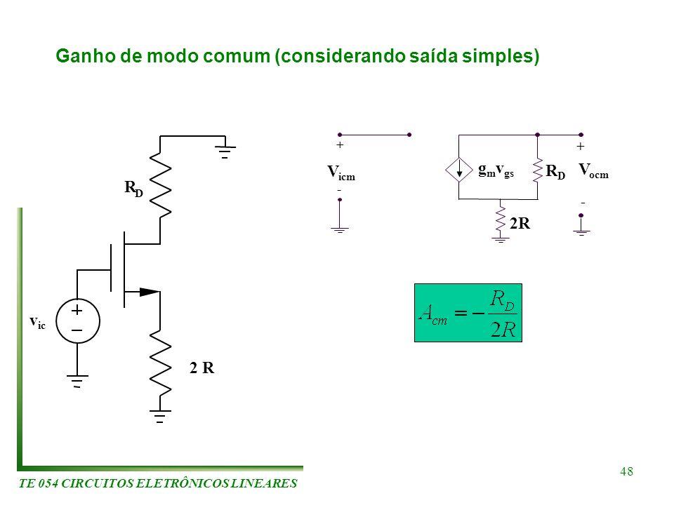 TE 054 CIRCUITOS ELETRÔNICOS LINEARES 48 Ganho de modo comum (considerando saída simples) v ic R D 2 R V ocm + - g m v gs RDRD V icm 2R + -