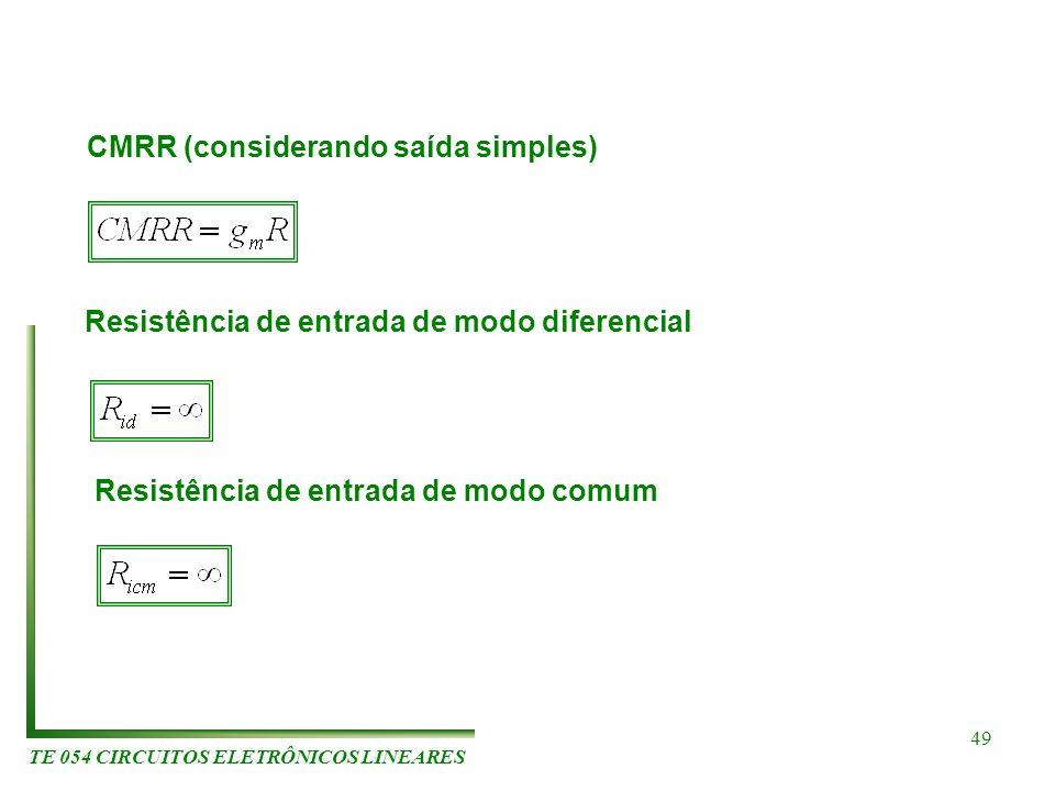 TE 054 CIRCUITOS ELETRÔNICOS LINEARES 49 CMRR (considerando saída simples) Resistência de entrada de modo diferencial Resistência de entrada de modo c