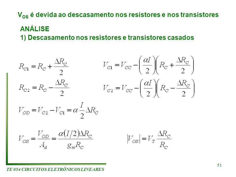 TE 054 CIRCUITOS ELETRÔNICOS LINEARES 51 V OS é devida ao descasamento nos resistores e nos transistores ANÁLISE 1) Descasamento nos resistores e tran