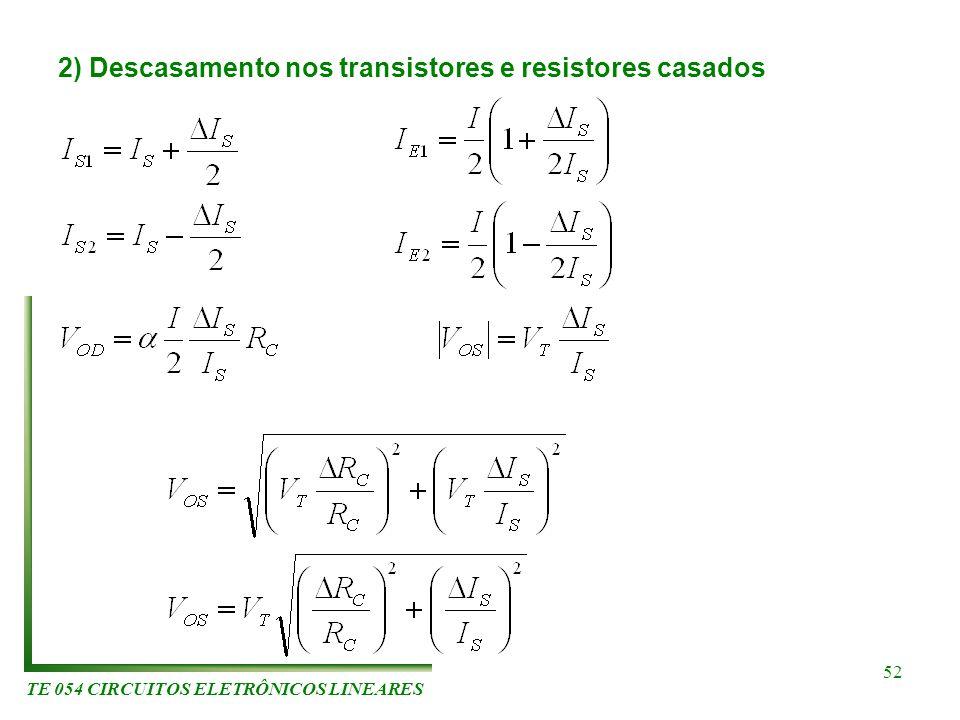 TE 054 CIRCUITOS ELETRÔNICOS LINEARES 52 2) Descasamento nos transistores e resistores casados