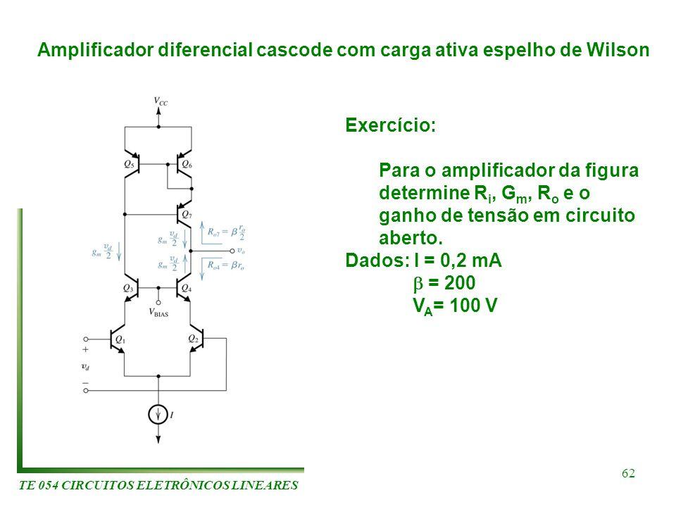 TE 054 CIRCUITOS ELETRÔNICOS LINEARES 62 Amplificador diferencial cascode com carga ativa espelho de Wilson Exercício: Para o amplificador da figura d
