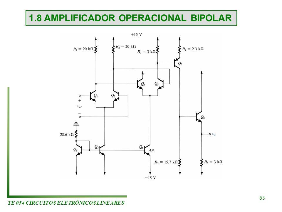 TE 054 CIRCUITOS ELETRÔNICOS LINEARES 63 1.8 AMPLIFICADOR OPERACIONAL BIPOLAR