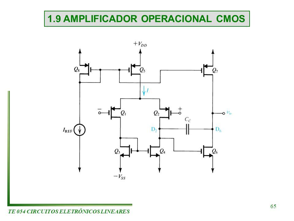 TE 054 CIRCUITOS ELETRÔNICOS LINEARES 65 1.9 AMPLIFICADOR OPERACIONAL CMOS
