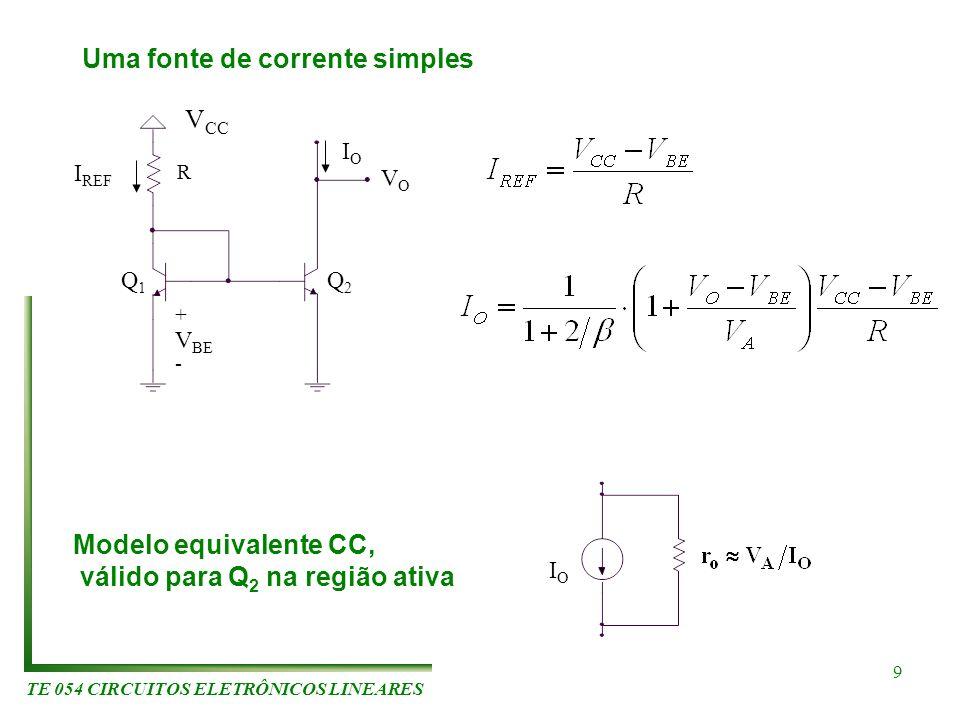 TE 054 CIRCUITOS ELETRÔNICOS LINEARES 9 Uma fonte de corrente simples R V BE + - I REF Q1Q1 Q2Q2 IOIO VOVO V CC IOIO Modelo equivalente CC, válido par