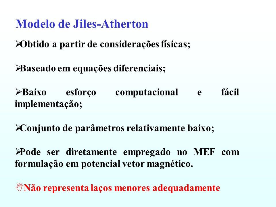 Modelo Escalar do Tipo Play Caracterização dos Materiais: Os parâmetros do modelo podem ser divididos entre aqueles necessários para modelar a curva anisterética e os necessários para representar os campos coercitivos kj e a sua função de distribuição j.