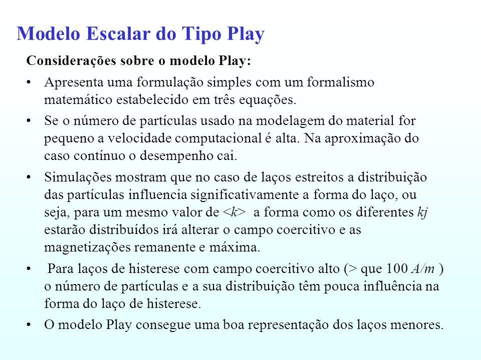 Modelo Escalar do Tipo Play Considerações sobre o modelo Play: Apresenta uma formulação simples com um formalismo matemático estabelecido em três equa