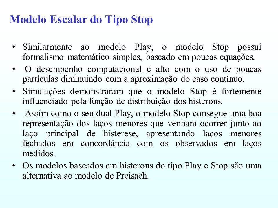 Modelo Escalar do Tipo Stop Similarmente ao modelo Play, o modelo Stop possui formalismo matemático simples, baseado em poucas equações. O desempenho