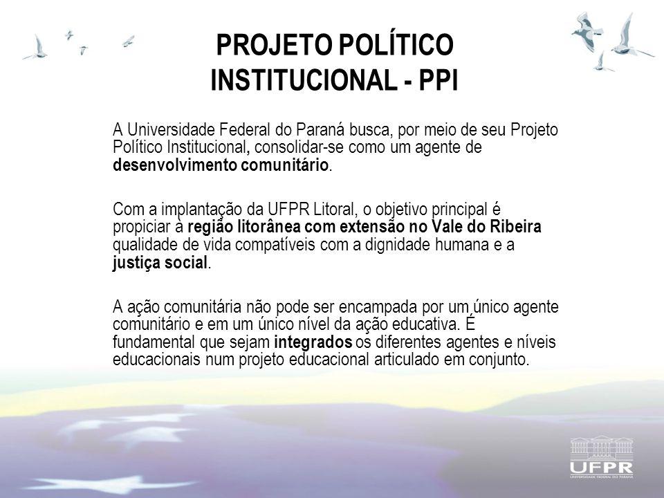 PROJETO POLÍTICO INSTITUCIONAL - PPI A Universidade Federal do Paraná busca, por meio de seu Projeto Político Institucional, consolidar-se como um agente de desenvolvimento comunitário.