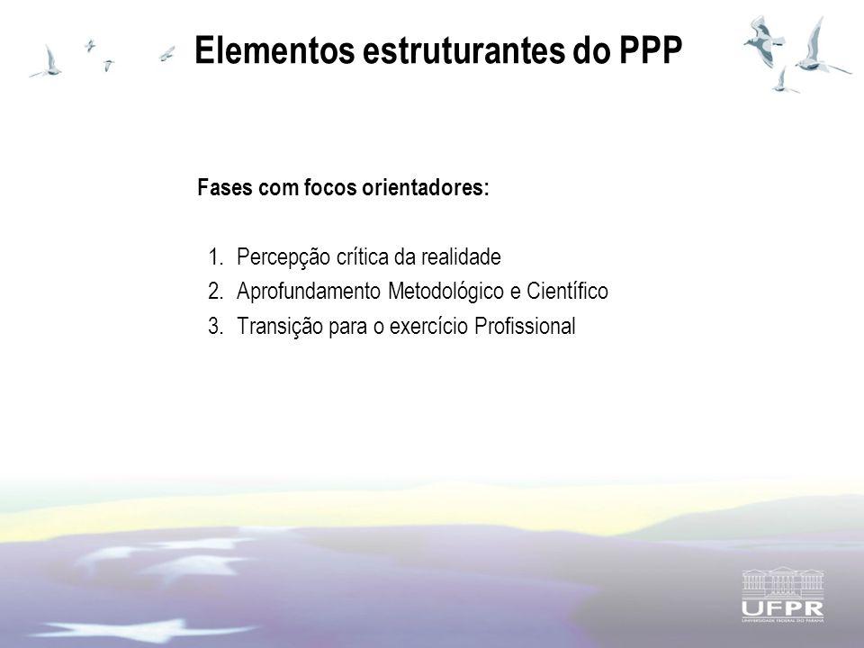 Elementos estruturantes do PPP Fases com focos orientadores: 1.Percepção crítica da realidade 2.Aprofundamento Metodológico e Científico 3.Transição para o exercício Profissional
