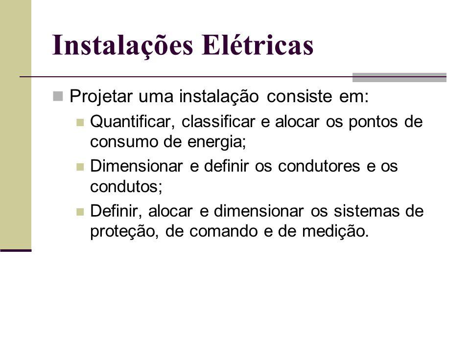 Projetar uma instalação consiste em: Quantificar, classificar e alocar os pontos de consumo de energia; Dimensionar e definir os condutores e os condu