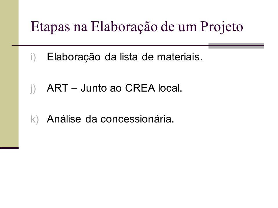 Etapas na Elaboração de um Projeto i) Elaboração da lista de materiais. j) ART – Junto ao CREA local. k) Análise da concessionária.