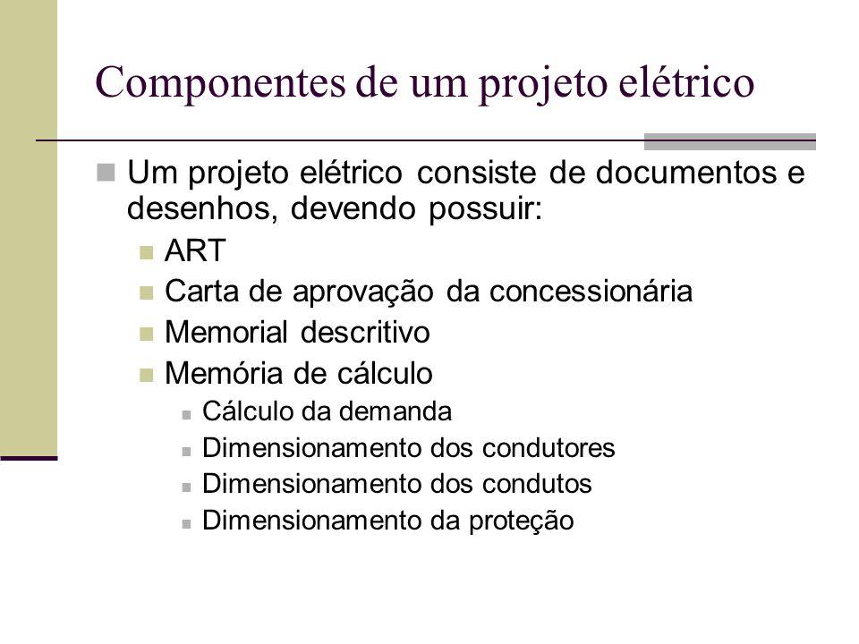 Componentes de um projeto elétrico Um projeto elétrico consiste de documentos e desenhos, devendo possuir: ART Carta de aprovação da concessionária Me