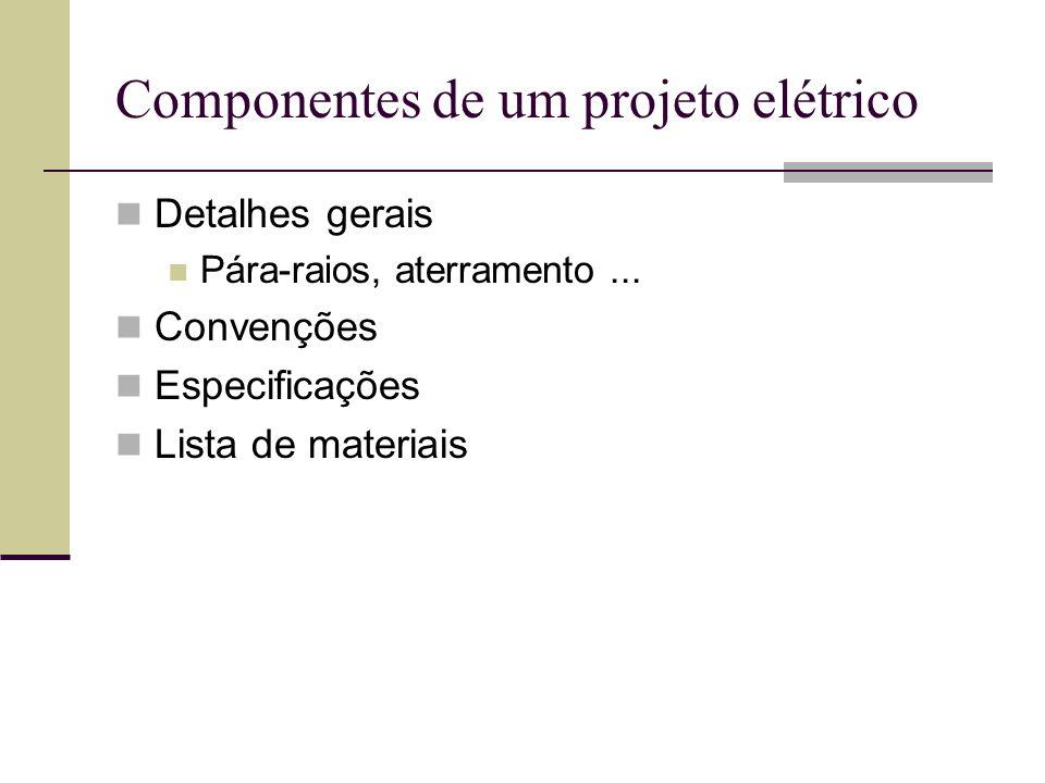 Componentes de um projeto elétrico Detalhes gerais Pára-raios, aterramento... Convenções Especificações Lista de materiais