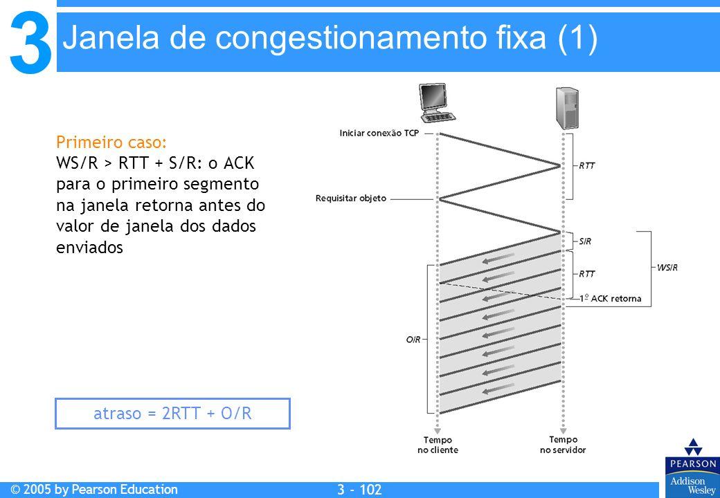 3 © 2005 by Pearson Education 3 - 102 Primeiro caso: WS/R > RTT + S/R: o ACK para o primeiro segmento na janela retorna antes do valor de janela dos d
