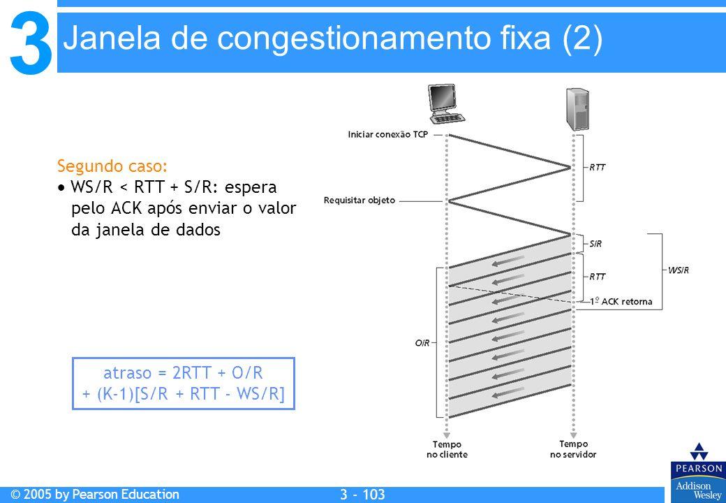3 © 2005 by Pearson Education 3 - 103 Segundo caso: WS/R < RTT + S/R: espera pelo ACK após enviar o valor da janela de dados atraso = 2RTT + O/R + (K-