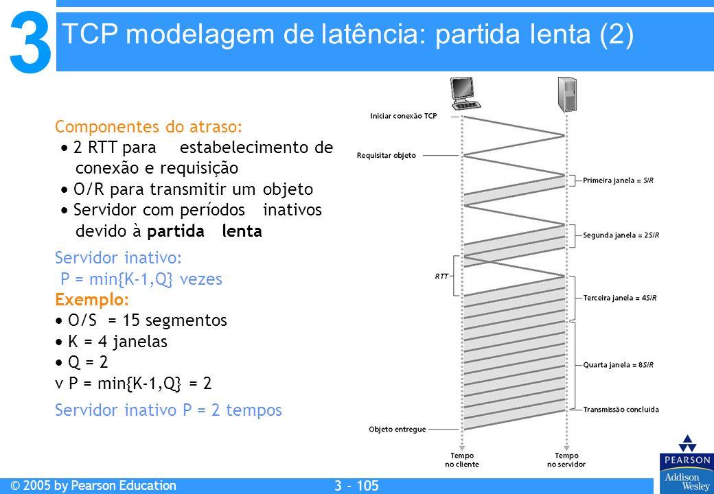 3 © 2005 by Pearson Education 3 - 105 Componentes do atraso: 2 RTT para estabelecimento de conexão e requisição O/R para transmitir um objeto Servidor