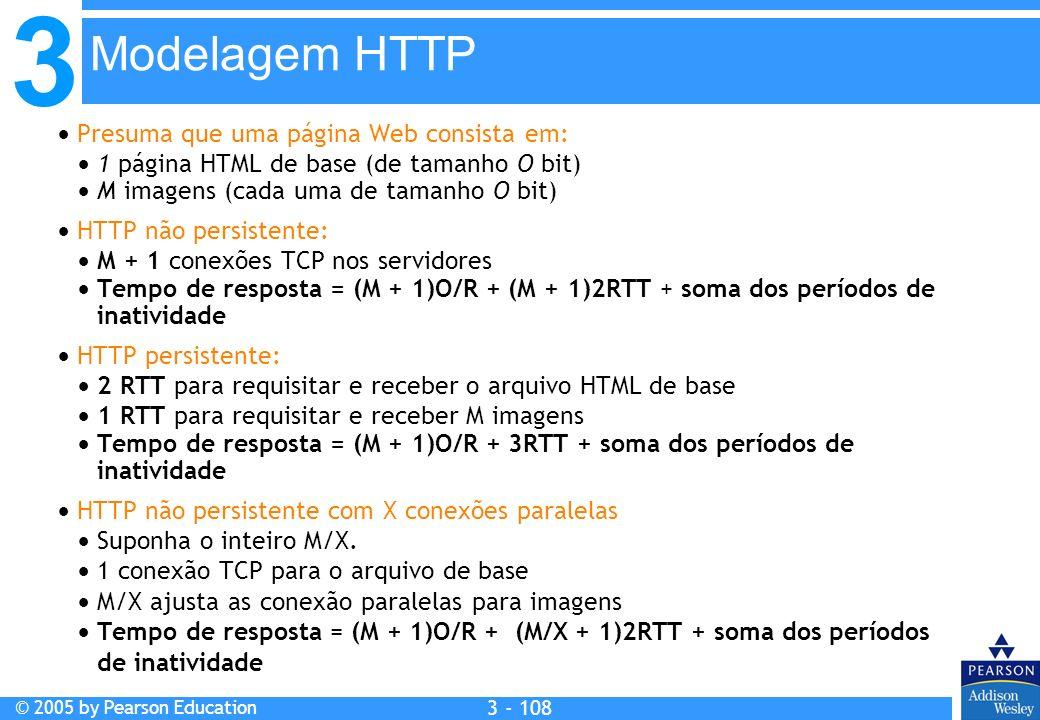 3 © 2005 by Pearson Education 3 - 108 Presuma que uma página Web consista em: 1 página HTML de base (de tamanho O bit) M imagens (cada uma de tamanho
