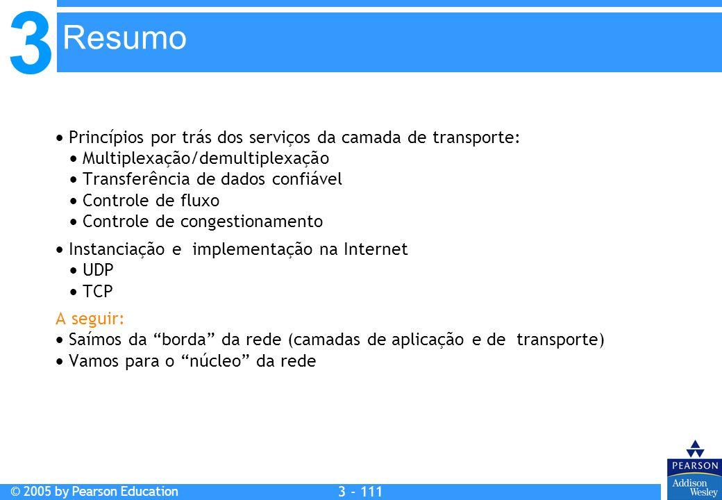 3 © 2005 by Pearson Education 3 - 111 Princípios por trás dos serviços da camada de transporte: Multiplexação/demultiplexação Transferência de dados c