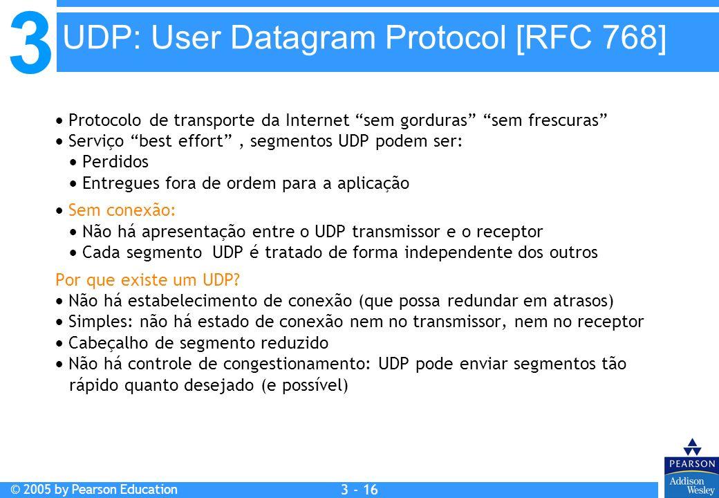 3 © 2005 by Pearson Education 3 - 16 Protocolo de transporte da Internet sem gorduras sem frescuras Serviço best effort, segmentos UDP podem ser: Perd