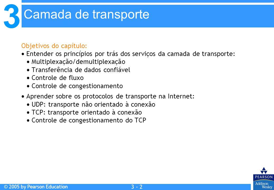 3 © 2005 by Pearson Education 3 - 3 Camada de transporte 3.1 Serviços da camada de transporte 3.2 Multiplexação e demultiplexação 3.3 Transporte não orientado à conexão: UDP 3.4 Princípios de transferência confiável de dados 3.5 Transporte orientado à conexão: TCP Estrutura do segmento Transferência confiável de dados Controle de fluxo Gerenciamento de conexão 3.6 Princípios de controle de congestionamento 3.7 Controle de congestionamento do TCP