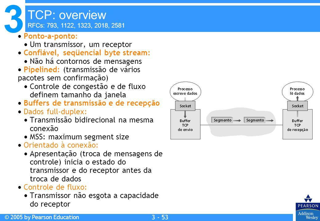3 © 2005 by Pearson Education 3 - 53 Ponto-a-ponto: Um transmissor, um receptor Confiável, seqüencial byte stream: Não há contornos de mensagens Pipel