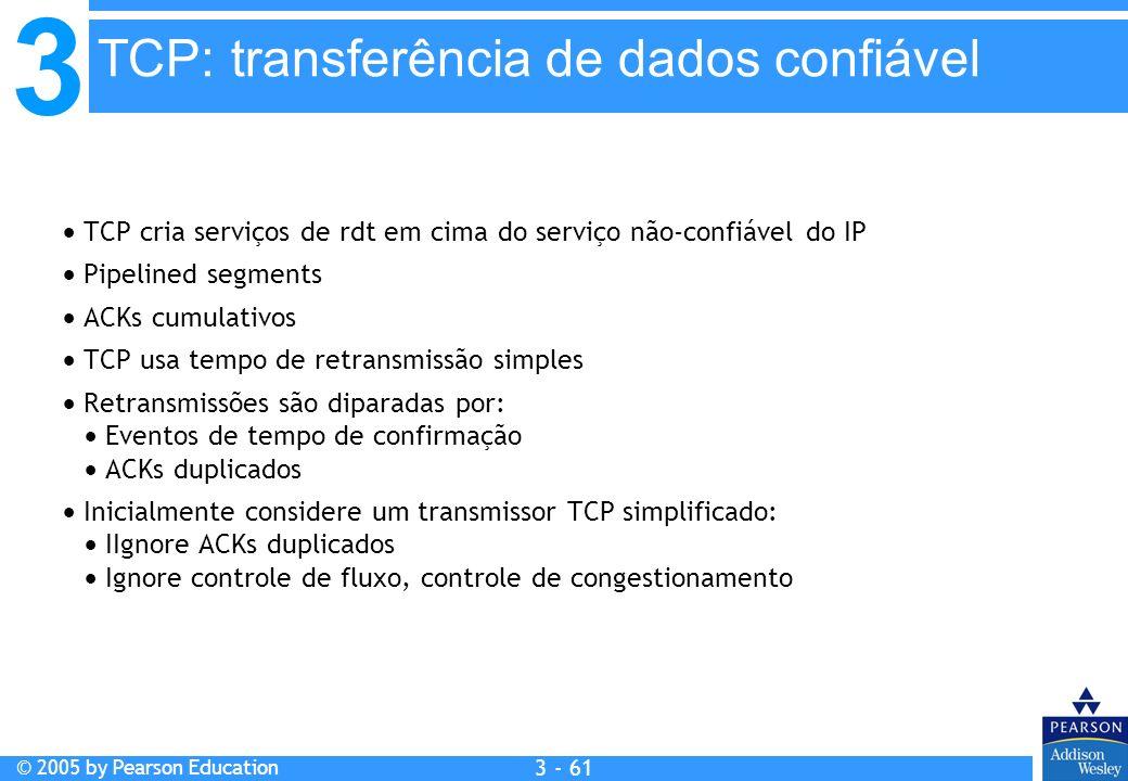 3 © 2005 by Pearson Education 3 - 61 TCP cria serviços de rdt em cima do serviço não-confiável do IP Pipelined segments ACKs cumulativos TCP usa tempo