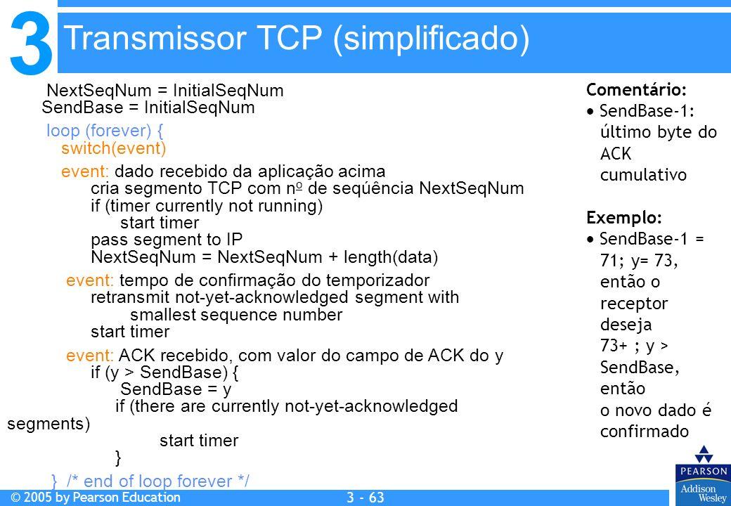 3 © 2005 by Pearson Education 3 - 63 NextSeqNum = InitialSeqNum SendBase = InitialSeqNum loop (forever) { switch(event) event: dado recebido da aplica