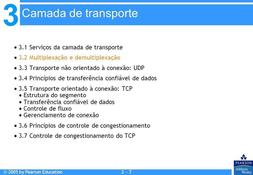 3 © 2005 by Pearson Education 3 - 7 3.1 Serviços da camada de transporte 3.2 Multiplexação e demultiplexação 3.3 Transporte não orientado à conexão: U