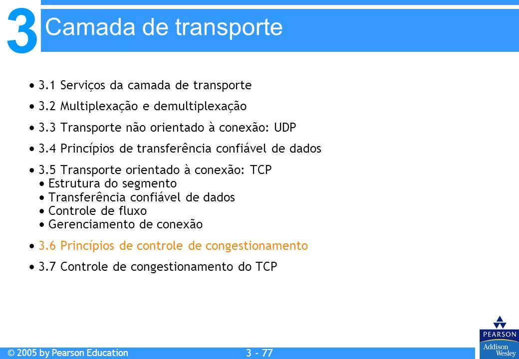 3 © 2005 by Pearson Education 3 - 77 3.1 Serviços da camada de transporte 3.2 Multiplexação e demultiplexação 3.3 Transporte não orientado à conexão: