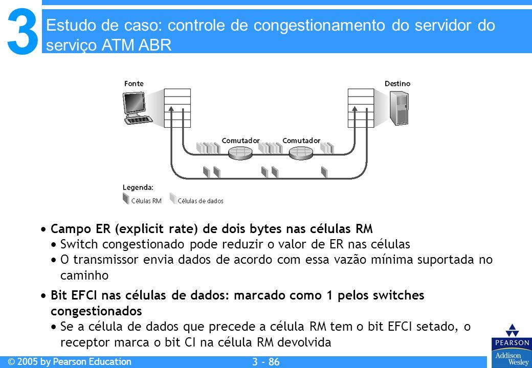 3 © 2005 by Pearson Education 3 - 86 Campo ER (explicit rate) de dois bytes nas células RM Switch congestionado pode reduzir o valor de ER nas células