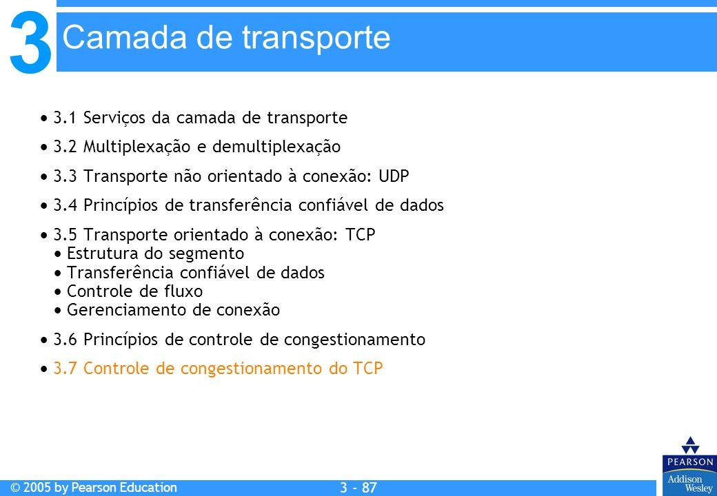 3 © 2005 by Pearson Education 3 - 87 3.1 Serviços da camada de transporte 3.2 Multiplexação e demultiplexação 3.3 Transporte não orientado à conexão: