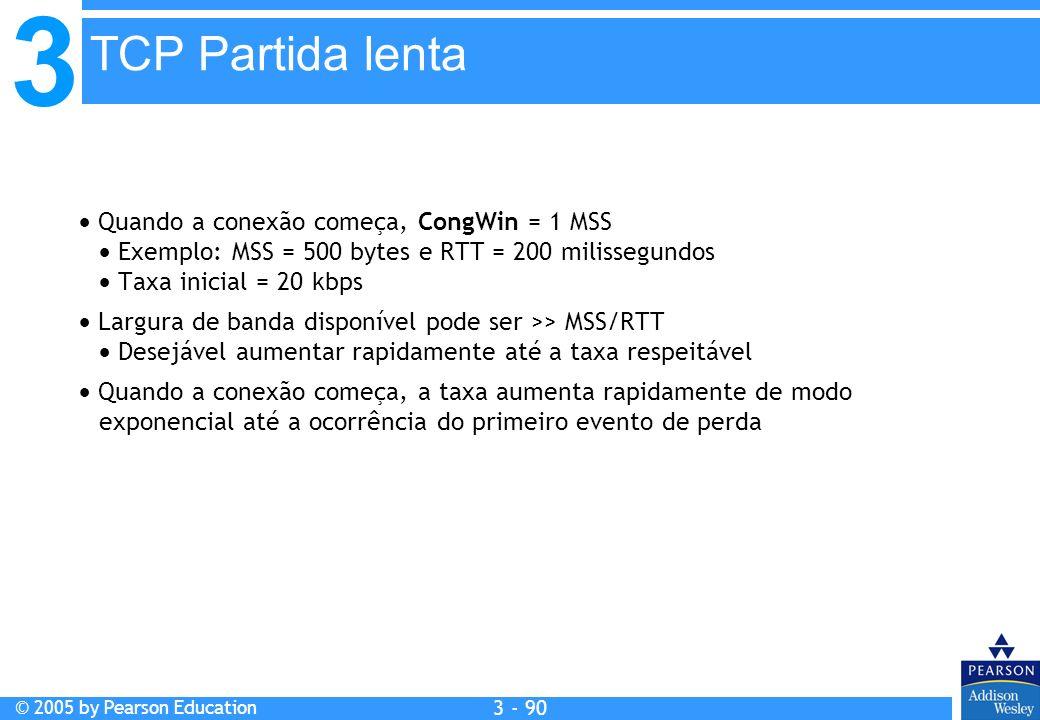 3 © 2005 by Pearson Education 3 - 90 Quando a conexão começa, CongWin = 1 MSS Exemplo: MSS = 500 bytes e RTT = 200 milissegundos Taxa inicial = 20 kbp