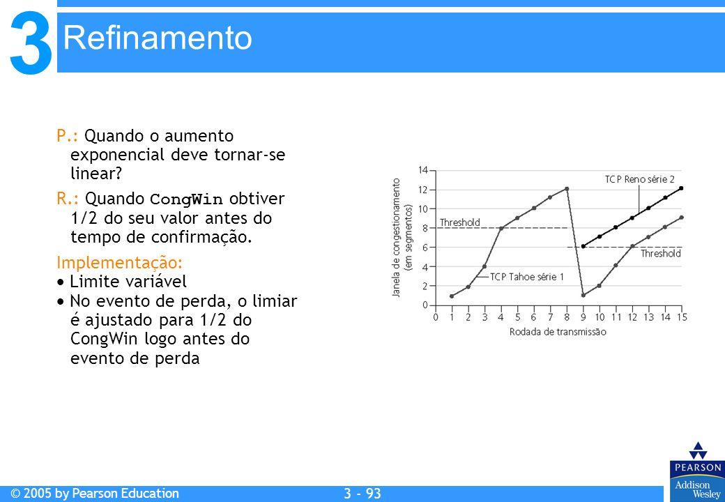 3 © 2005 by Pearson Education 3 - 93 P.: Quando o aumento exponencial deve tornar-se linear? R.: Quando CongWin obtiver 1/2 do seu valor antes do temp