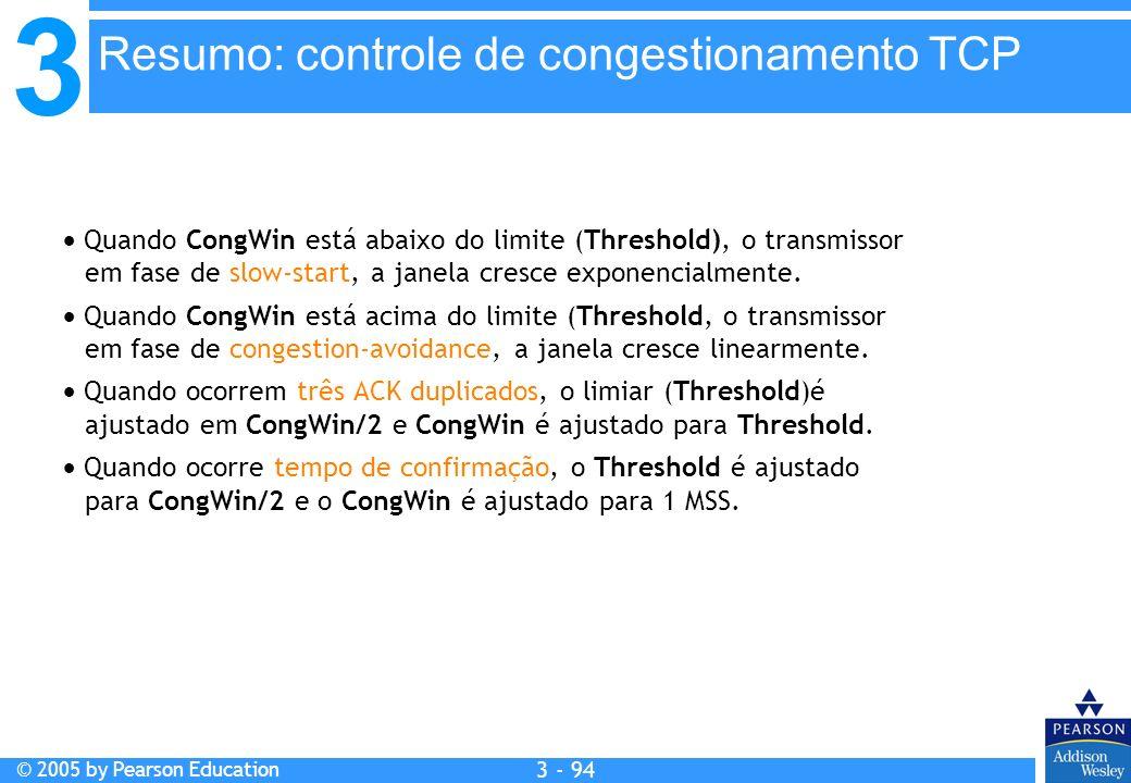 3 © 2005 by Pearson Education 3 - 94 Quando CongWin está abaixo do limite (Threshold), o transmissor em fase de slow-start, a janela cresce exponencia
