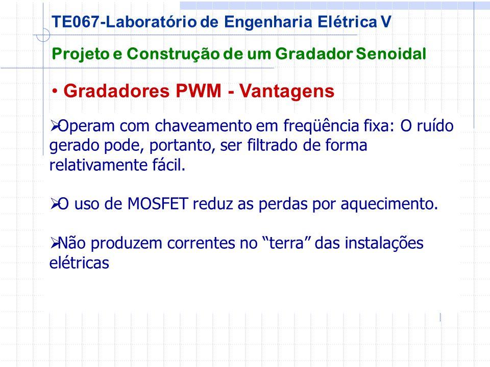 Gradadores PWM - Vantagens Projeto e Construção de um Gradador Senoidal TE067-Laboratório de Engenharia Elétrica V Operam com chaveamento em freqüênci