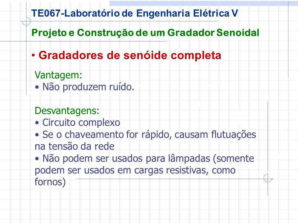 Gradadores de senóide completa Projeto e Construção de um Gradador Senoidal TE067-Laboratório de Engenharia Elétrica V Vantagem: Não produzem ruído. D