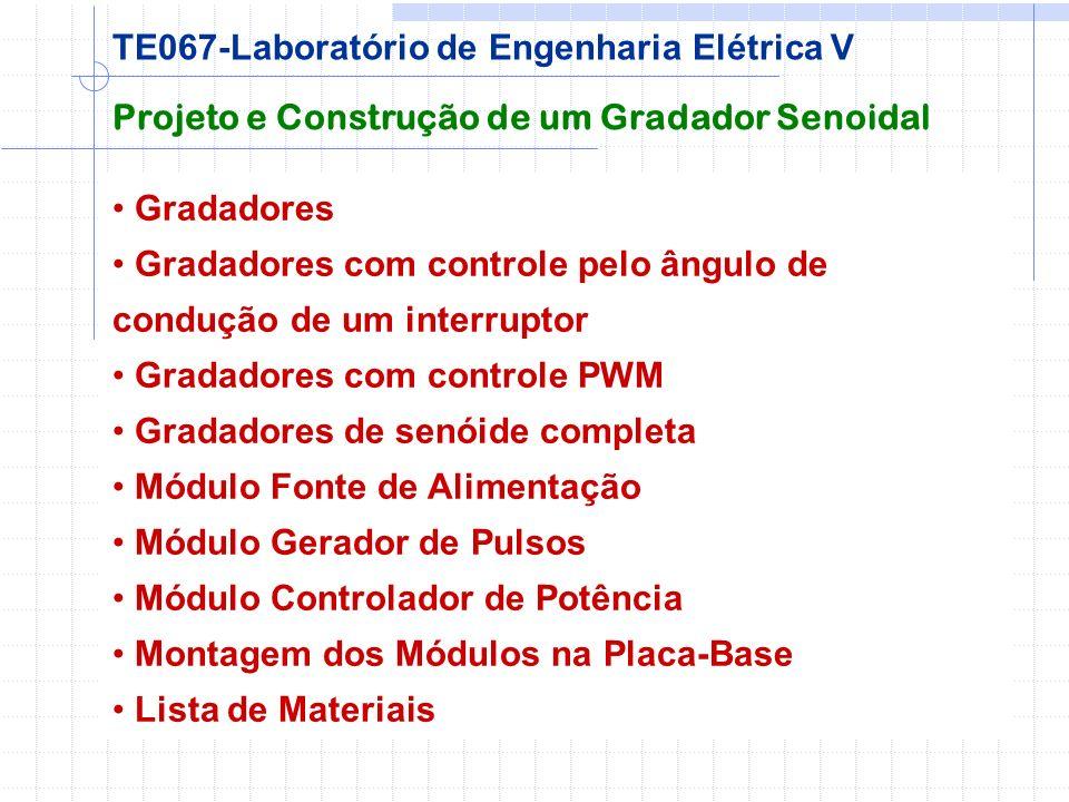 Gradadores Gradadores com controle pelo ângulo de condução de um interruptor Gradadores com controle PWM Gradadores de senóide completa Módulo Fonte d