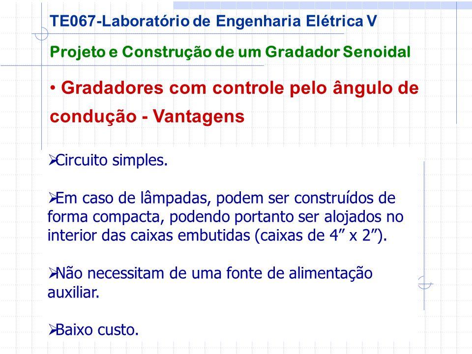 Gradadores com controle pelo ângulo de condução - Vantagens Projeto e Construção de um Gradador Senoidal TE067-Laboratório de Engenharia Elétrica V Ci