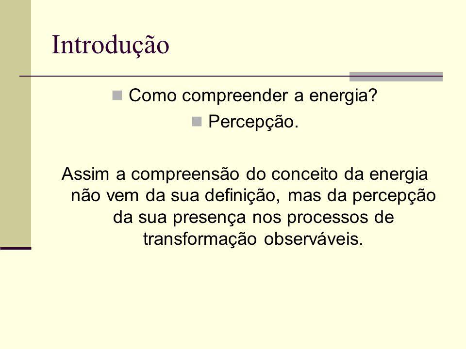 Introdução Como compreender a energia? Percepção. Assim a compreensão do conceito da energia não vem da sua definição, mas da percepção da sua presenç