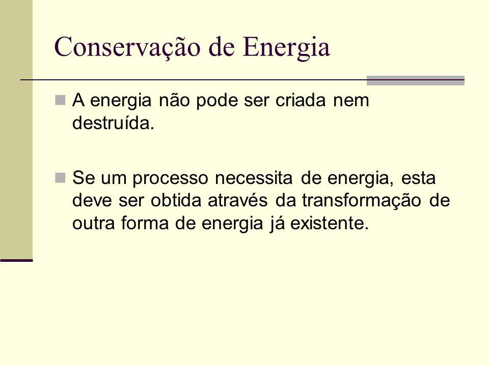 Conservação de Energia A energia não pode ser criada nem destruída. Se um processo necessita de energia, esta deve ser obtida através da transformação