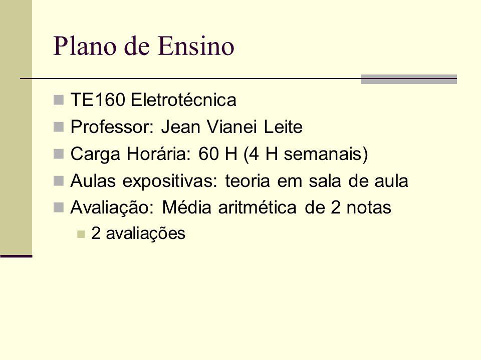 Plano de Ensino TE160 Eletrotécnica Professor: Jean Vianei Leite Carga Horária: 60 H (4 H semanais) Aulas expositivas: teoria em sala de aula Avaliaçã