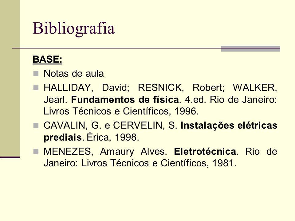 Bibliografia BASE: Notas de aula HALLIDAY, David; RESNICK, Robert; WALKER, Jearl. Fundamentos de física. 4.ed. Rio de Janeiro: Livros Técnicos e Cient