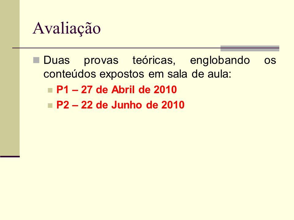Avaliação Duas provas teóricas, englobando os conteúdos expostos em sala de aula: P1 – 27 de Abril de 2010 P2 – 22 de Junho de 2010