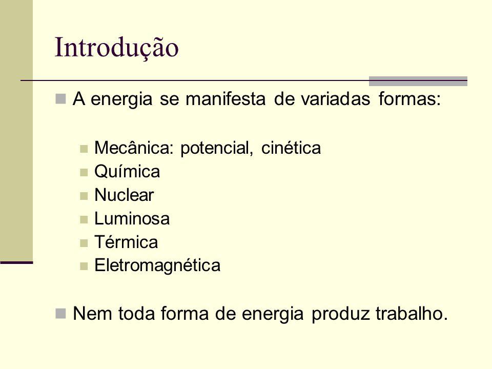 Introdução A energia se manifesta de variadas formas: Mecânica: potencial, cinética Química Nuclear Luminosa Térmica Eletromagnética Nem toda forma de