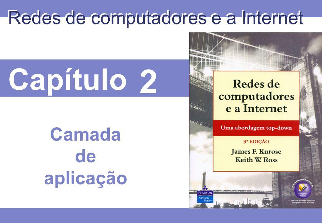 2 © 2005 by Pearson Education 2 - 52 2.1 Princípios de aplicações de rede 2.2 Web e HTTP 2.3 FTP 2.4 Correio electrônico SMTP, POP3, IMAP 2.5 DNS 2.6 Compartilhamento de arquivos P2P 2.7 Programação de socket com TCP 2.8 Programação de socket com UDP 2.9 Construindo um servidor Web Camada de aplicação