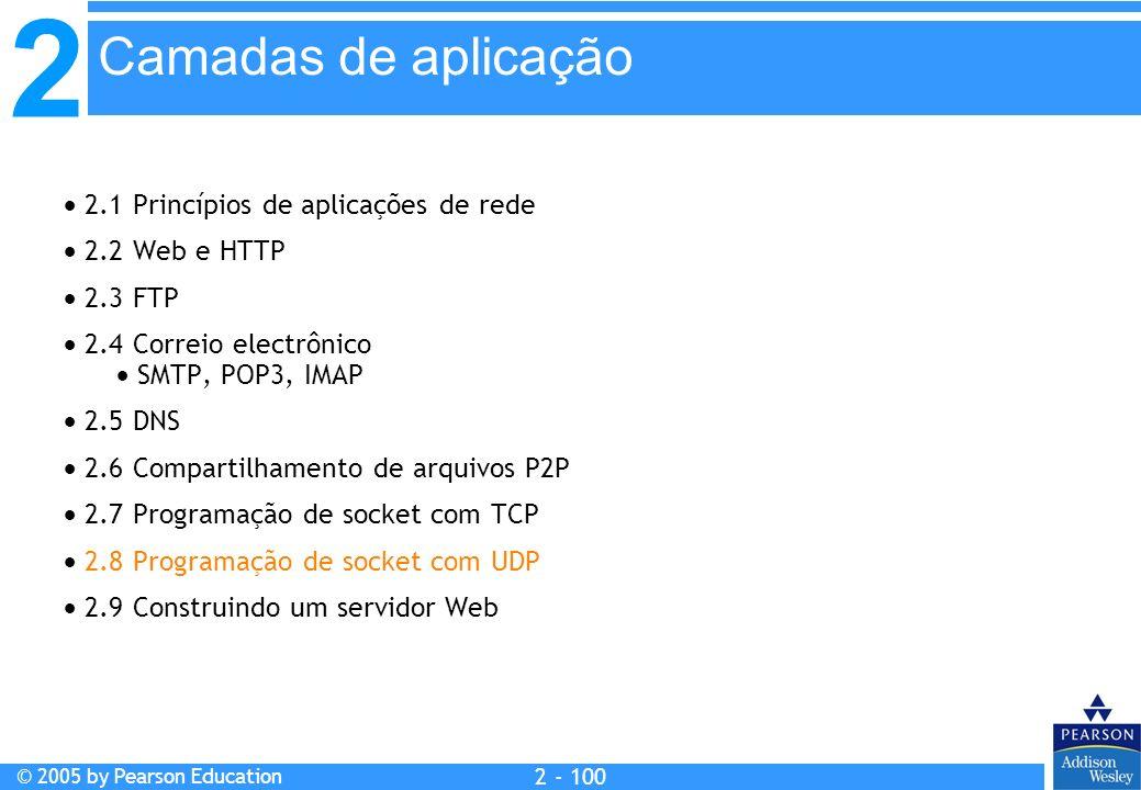 2 © 2005 by Pearson Education 2 - 100 2.1 Princípios de aplicações de rede 2.2 Web e HTTP 2.3 FTP 2.4 Correio electrônico SMTP, POP3, IMAP 2.5 DNS 2.6