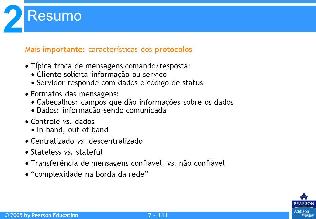 2 © 2005 by Pearson Education 2 - 111 Mais importante: características dos protocolos Típica troca de mensagens comando/resposta: Cliente solicita inf