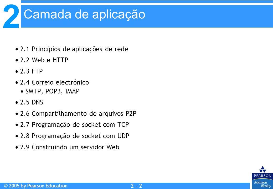 2 © 2005 by Pearson Education 2 - 23 2.1 Princípios de aplicações de rede 2.2 Web e HTTP 2.3 FTP 2.4 Correio electrônico SMTP, POP3, IMAP 2.5 DNS 2.6 Compartilhamento de arquivos P2P 2.7 Programação de socket com TCP 2.8 Programação de socket com UDP 2.9 Construindo um servidor Web Camada de aplicação